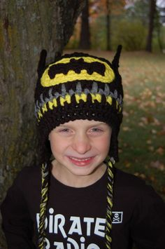 "Crochet Pattern: Batman Beanie or Earflap Hat 12m - Adult ""Permission To Sell Finished Items"". $5.00, via Etsy."
