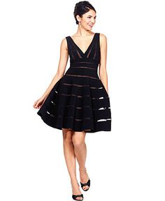 JS Collections Dress, Sleeveless Stripe V-Neck A-Line - Black Magic - Women - Macy's