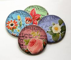 Flower Coasters, Wine Coasters, Coasters, Drink Coasters, Hostess Gift, Wine Accessories, Tableware, Floral, Housewarming Gift (5013)