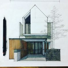 Sketchbook Architecture, Architecture Design, Architecture Concept Drawings, Facade Design, Exterior Design, Residential Architecture, Townhouse Designs, Facade House, Modern House Design