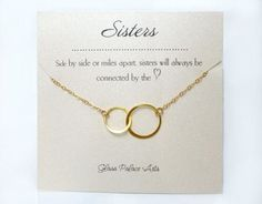This simple and elegant infinity symbol necklace shows that the love of a sister is endless. - gold vermeil (sterling dipped in gold) , 925 sterling silver or Rose gold interlocking Mother Daughter Necklace, Sister Necklace, Sister Bracelet, Sister Jewelry, Necklace Set, Simple Necklace, Rhinestone Necklace, Silver Earrings, Sister In Law Gifts