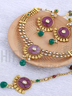 Maang Tikka Necklace Jewellery Set with Multicolor Stones