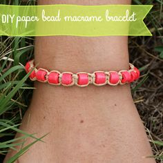 Make Paper Beads & Macrame Bracelet with #goastrobrights at savedbylovecreations.com