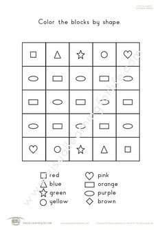 """In the """"Colour/Color by Shape"""" worksheets, the student must colour/color the blocks according to the shape code. Learning For Life, Visual Learning, Figure Ground Perception, Shapes Worksheets, Shape Coding, Red And Pink, Student, Colour, Math"""
