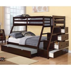 Found it at Wayfair - Jason Twin Over Full Bunk Bed with Storage Ladder and Trundle