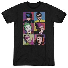 Batman Classic Tv - Pop Cast Adult Ringer T- Shirt