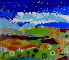 """Landscape by Peggy S., multilayered but untraditionally so! Variety of sheet glass with added streakies, medium frits,  and layered puddle components have been """"inserted"""" very creatively. Millifiori enhances too! This is an awesome work."""