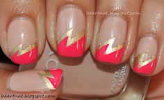 Nude, Gold, and Hot Pink Double Lightning Bolt Nails