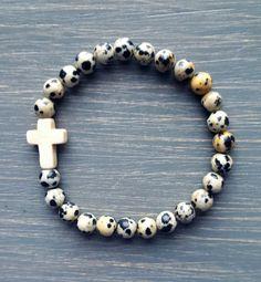 Dalmatian Jasper & Creamy Magnesite Gemstone Cross Bracelet