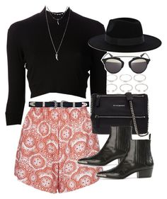 """Outfit for a music festival with patterned shorts"" by ferned on Polyvore featuring Motel, Forever 21, Again, Givenchy, Yves Saint Laurent, Warehouse, Christian Dior and Wet Seal"