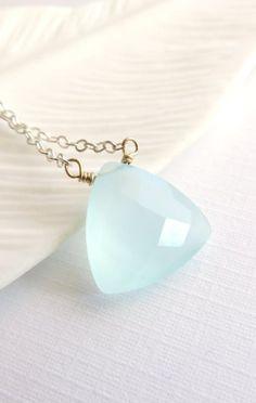 Wailana Triangle Chalcedony solitaire necklace