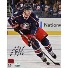 """Brandon Saad Columbus Blue Jackets Fanatics Authentic Autographed 8"""" x 10"""" Blue Jersey Skating With Puck Photograph"""