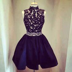 Simple-dress High-neck Short Black 2015 Homecoming Dresses/Cocktail Dresses  TAHD-7414