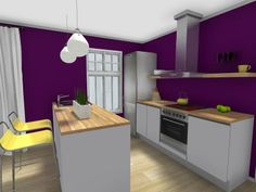 Are you a kitchen and bath designer? Tour our virtual Spring Trends Showhouse: http://applet.roomsketcher.com/widget/?ctxt=fb_comw=home360gid=11859294  Create your own with RoomSketcher Pro to show potential clients what your can do- It's easy  affordable!  http://www.roomsketcher.com/interiordesign/   3D floor plan for a kitchen with custom color walls, kitchen appliances, trendy lighting, and brand name decor and tableware, designed in RoomSketcher Pro.   #floorplan #kitchen #purple…