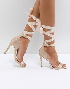 7b9518f3d5ce25 ALDO Mirilian Glitter Satin Tie Ankle Strap Shoe at asos.com