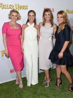 From left, Jodie Sweetin, Andrea Barber, Lori Loughlin and Candace Cameron Bure. Celebrity Dresses, Celebrity Style, Fuller House Cast, Full House Tv Show, Lori Loughlin, Candace Cameron Bure, Gorgeous Blonde, Famous Stars, Famous Couples