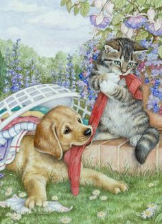dog and cat art by Debbie Cook Animals And Pets, Cute Animals, Art Mignon, Vintage Cat, Cat Drawing, Pretty Cats, Dog Art, Animal Drawings, Animals Beautiful