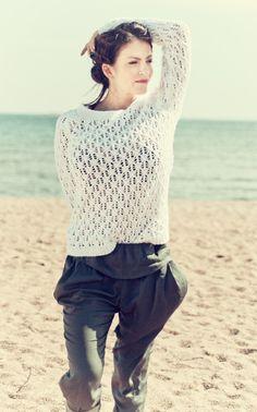 Naisen pitsineulepusero Novita Miami   Novita knits Crochet Top, Miami, Knits, Turtle Neck, Pullover, Sweaters, Cardigans, Knitting, Tops