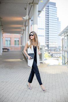Schutz Dubianna Sandals, Mango Linen White Vest, Express Barcelona Cami, Gucci 80's inspired rectangular sunglasses, michael kors gold watch, black pants, celine trio bag