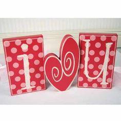 I Heart U sooo cute!! Valentine wood blocks