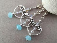 Silver heart Swarovski crystal and light blue aqua chalcedony wedding favors charm, Heart party favors