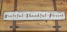 """FOLLOW ME ON INSTAGRAM @tinsheepshop.  Grateful Thankful Blessed Wood Sign, 22"""" Wooden Sign, Wedding Gift, Shabby Chic, Rustic Wooden Sign, Farmhouse Sign Distressed Inspirational by TinSheepShop on Etsy"""