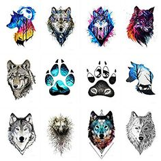 Amazon.com : WYUEN 12 PCS/lot Wolf Temporary Tattoo Sticker for Women Men Fashion Body Art Adults Waterproof Hand Fake Tatoo 9.8X6cm W12-01 : Beauty