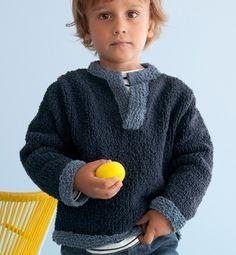 Modèle pull enfant col tunisien - Modèles tricot enfant - Phildar