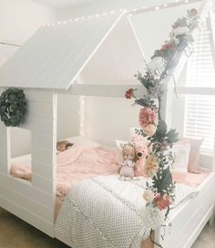 This cozy little queen is all snuggled up and looking as cute as her castle. 🏰 How cute is this room? That flower garland and all her friends piled in the bed? 😘 Vintage Blush is now available in Twin and Queen sizes? Small Room Bedroom, Baby Bedroom, Small Rooms, Girls Bedroom, Bedroom Decor, Baby Girl Bedroom Ideas, Girls Flower Bedroom, Girl Toddler Bedroom, Kids Bedroom Ideas For Girls Toddler