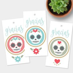 Sugar skull tags - adorable! New instant download.