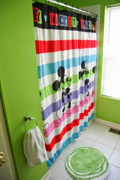 Disney mickey mouse fabric shower curtain mickey mouse - Disney mickey mouse bathroom decor ...