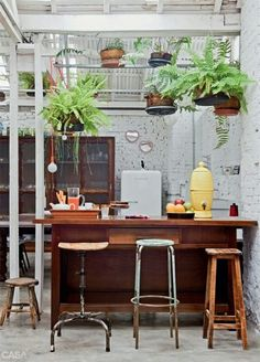 Breakfast counter top, hanging potted plants, high stools