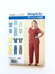 Sewing Pattern Simplicity 1446  Women's Tops Pants Shorts Pattern at DonnaDesigned