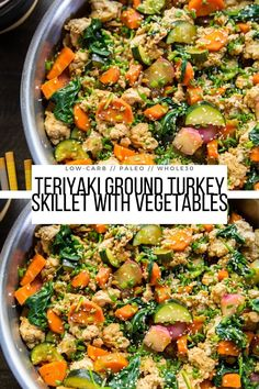 Teriyaki Ground Turkey Skillet with Vegetables - a quick and easy healthy dinner recipe ready in 45 minutes or less! Paleo, whole30, clean, low-carb and delicious! #grainfree #glutenfree #whole30 #paleo