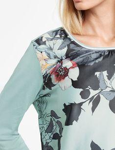 Langarmshirt mit Blütenfront Jade, Shirts, Shirt, Dress Shirt, T Shirts