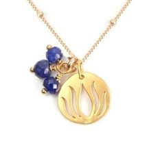 Lotus Necklace with Sapphires in Gold Vermeil - Prosperity - $75.00 : Handmade Yoga Jewelry, Yoga Inspired Jewelry, Inspirational Jewelry, Meaningful Jewelry & Spiritual Healing Energy Jewelry,  Necklaces with Meaning,  Bracelets with Meaning,  Earrings with Meaning, Gem or Gemstone Meaning Jewelry, Om Lotus Ganesh Namaste Manadala Mudra  Jewelry, Jewelry gifts for all occasions,  Handcrafted Yoga Jewelry of Simple Beauty, Yoga inspired jewelry