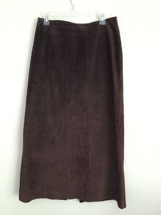 Apostrophe Leather / Sude Long maxi Skirt Chocolate / Dark Brown Size 8 #Apostrophe #StraightPencil
