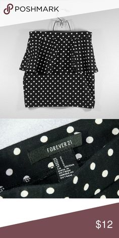 Forever 21 Polka Dot Skirt This polka dot peplum miniskirt is a must have from Forever 21. Pair this with a tank top or nice dress shirt. The miniskirt is in great condition! Forever 21 Skirts Mini