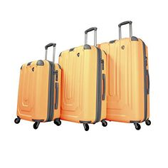 Luggage Sets Collections | Mia Toro Luggage Pastello Composite Hardside Spinner 3 Piece Set Org Orange One Size ** Click image for more details. Note:It is Affiliate Link to Amazon. #comments