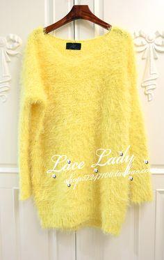 $22.62 Bright yellow sequined leisure hedging sweater / sweater-ZZKKO