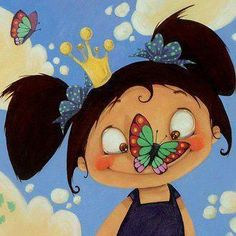 Girl art butterfly cute »✿❤ Mego❤✿«