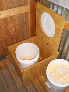 Composting Toilet..awesome details for inside and outside toilets..and how to store and turn into compost material..