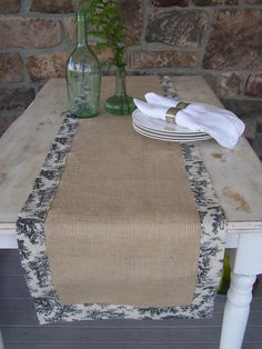 burlap and toile, rustic and elegant, I need something for the hutch in my bathroom.