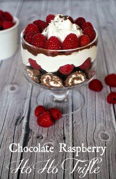 Chocolate Raspberry Ho Ho Trifle - Easy Holiday Dessert using Hostess Snacks #HostessHolidaySweeps #spon