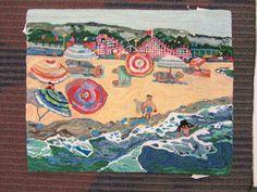 Material Pleasures: Peninsula Rugmakers Guild. Ardis Deane's beach scene (Santa Cruz?)