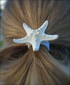 Starfish Hair Accessory-White Pony Tail-Starfish Hair Accessories, Mermaid Halloween, Starfish, Under the Sea Party, Surfer Girl Hair. $8.95, via Etsy.