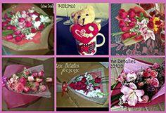 Hermoso detalle para San Valentín Bs. 120 en vez de Bs. 220 un ramo de 6 rosas + peluche en tácita en Giftme Detalles