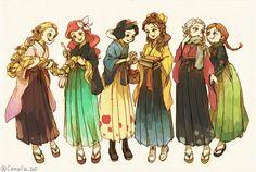 Disney princesses in kimono + hakama Disney Pixar, Disney Animation, Disney And Dreamworks, Disney Characters, Punk Disney, Frozen Disney, Anna Frozen, Disney Kunst, Arte Disney
