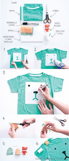 DIY this cute Uppy for an old Shirt.....make this T-Shirt Teddy Bear Tutorial! And turn that dull shirt into a Fab Fashion Dog Tee! Tutor Text is in Italian and English. #upcycle #kids
