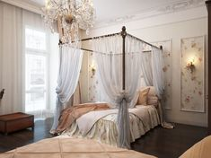Via aquamagic: {LG Romantic Retreat of the Week!}  Gorgeous crown molding, soft floral wallpaper, a canopy bed, and a crystal chandelier leave us with some serious bedroom envy! #laylagrayce #bedrooms